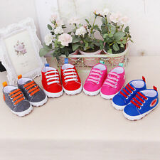 Newborn Toddler Baby Cartoon Girls Boys Solid Soft Prewalker Casual Flats Shoes