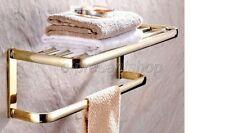 Luxury Gold Color Brass Bathroom Towel Rack Shelf Rails Double Bar Bba841