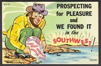 Prospecting for Pleasure in Southwest Gold Panning Miner Linen Comic Postcard