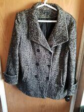 P Preston & York Coat Tweed Double Breasted Boucle Black & Beige/Gray Coat Sz 16