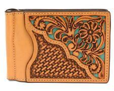 Nocona Western Mens Money Clip Bifold Leather Weave Floral Embossed N500002733