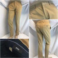 Hugo Boss Pants 32x30 Tan Cotton Lycra Flat Front Made Romania EUC YGI G8-278