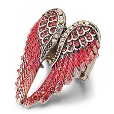 Coral Pink Angel Wings Stretch Ring AB & Pink  Crystals on  Gold