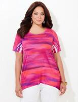 Catherines Size 1X Surrealist Sky Polyester Embellished Top