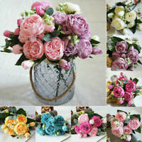 5 Heads Silk Peony Artificial Flowers Peony Wedding Bouquet Home Party Decor