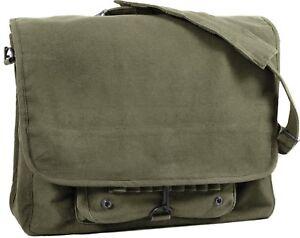 Vintage Military Messenger Shoulder Bag Paratrooper Stonewashed School Laptop