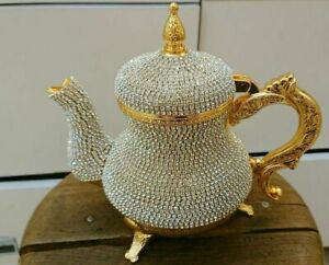 Swarovski Handmade Turkish British Kitchen Tea Pot Copper Tea Makers Specially