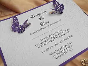 50 PERSONALISED WEDDING INVITATIONS BUTTERFLY EMBOSSED DESIGN A5 + ENVELOPES