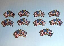 Wholesale Lot of 10 USA & Great  Britain Friendship Flag Lapel Pin, Brass, NEW