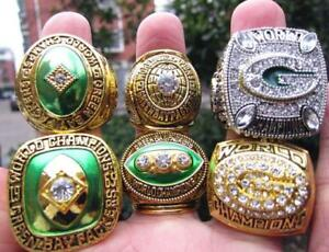 6PCS GREEN BAY PACKERS Team Ring Souvenirs Together Set With Wooden Box Gift