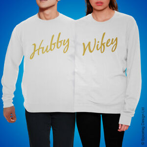 Hubby Wifey Double Jumper Twosie Sweatshirt Couple Sweater Top Unisex Wedding