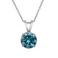0.33 Ct CERTIFIED Blue Diamond Solitaire Pendant 14k White Gold I Clarity