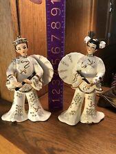 Vintage (2) Hand Painted Lefton Oriental Figurines 10245 w/ Rhinestones.