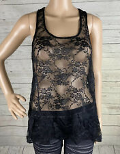 H&M Divided Black Lace Tank Top Size 8 Sheer Sexy Sleeveless Spring Summer Shirt
