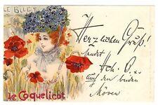 POSTCARD ART NOUVEAU 1900  LE COQUELICOT SIGNED JACK ABEILLE