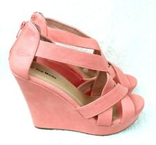 Top Moda Ella Women Wedges Shoes Size 9 Coral Gladiator Heel Sandals Casual