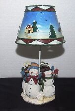 Snowmen Winter Tealight Candle Holder Lamp with Metal Shade