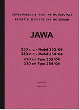 Jawa 250 350 ccm Typ 353 354 Ersatzteilliste Ersatzteilkatalog Spare Parts List