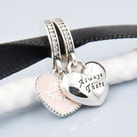 New 925 Silver Sterling 2 PINK HEARTS BEST FRIENDS BFF LOVE Charm SET+ gift box