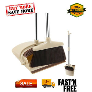Broom and Dustpan Set with Removable Handle, Locking and Upright Design