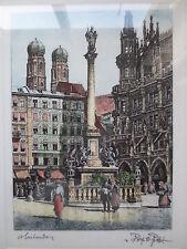 Radierung von Prof. Ferdinand Probst ca. 1900  Marienplatz München Gelegenheit