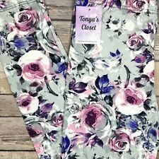 Extra PLUS Purple Pink Rose Leggings Floral Flower Buttery Soft Curvy 16-24