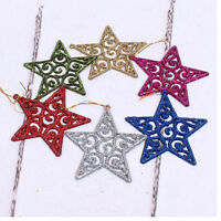 6X Glitter Star Christmas Tree Decoration Xmas Party Hanging Ornament Decor FT