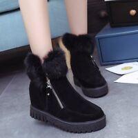 Women's Ankle Fluff Boots Hidden Wedge Heel Warm Winter Booties Side Zip Shoes