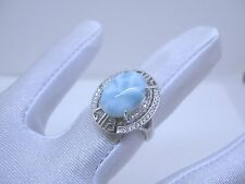 Larimar Premium 100% Natural 10X14mm Oval 925 Sterling Silver Ring Size 7  NEW