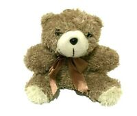 Light Brown Fuzzy Hanging Teddy Bear Ribbon Bow Tie 15 CM Seated Soft Plush Toy