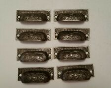 8 matching antique victorian cast iron bin pulls drawer pulls  handles (38H)