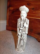 Vintage Chinese Emperor Figurine Hand Carved Ivory Color Bone Resin Statue
