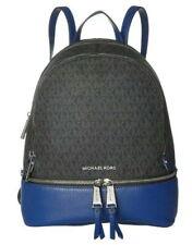 New MICHAEL KORS RHEA ZIP Medium Logo Leather Backpack Black/Sapphire Blue $298