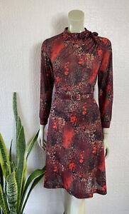 Vintage Dress 1970's Red Belted Size 12