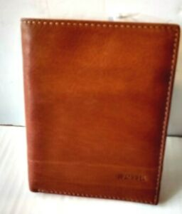 Fossil Lufkin Mens Bifold Passport ID Wallet Case Med Brown  Leather NWT