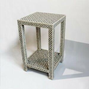 Made to Order Indian Handmade Bone Inlay Rectangular Side Table Black Geometric