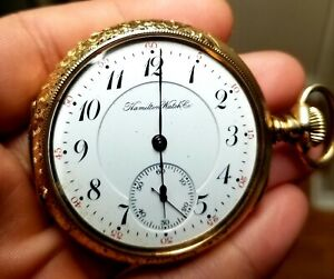 Antique Hamilton Watch Co. Extra Gold Filled Pocket Watch 965 Excellent Runs