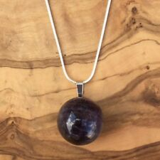 "Amethyst Crystal Ball Sphere Pendant 20mm 20"" Silver Necklace Calm Meditation"