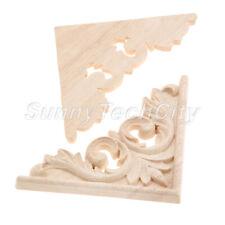 Unpainted Wood Carved Corner Onlay Applique Drawer Door Cabinet Decor 11x11cm