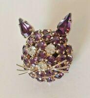 Joseph Warner Kitty Cat Pin Brooch Amethyst & Gold Tone Rhinestone Vintage Sign