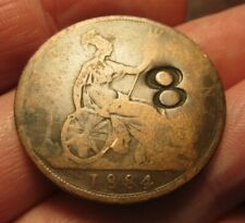 """""""8"""" Counter Stamped Host 1884 British Penny- Counter Mark"""