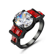 Fashion Rings Size 9 White Sapphire&Red Engagement Ring 18K black Gold Filled