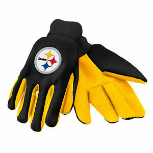 NFL Pittsburgh Steelers Colored Palm Utility Gloves Black w/ Yellow Palm by FOCO
