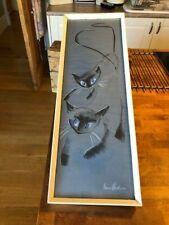 More details for vintage original 1960's framed & signed anne hudson chalk/pastel of cats – great