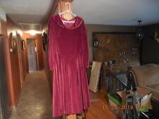 J. JILL LTD. WINE/ MAROON LONG SLEEVE VELVET DRESS..SIZE 12