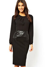 "Women Size ""M""  Ladies Pencil Leather Look Waist and Chiffon Top Midi Dress"