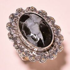 BLACK ZINC TURQUOISE VINTAGE STYLE 925 STERLING SILVER RING SIZE 7 US  RA8