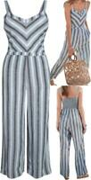 NEW IN! NEXT Blue/Grey Linen Blend Chevron Stripe Wide Leg Summer Jumpsuit 6-20