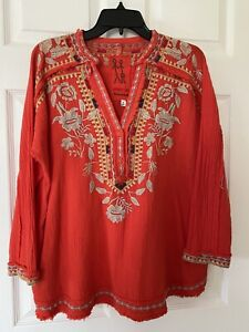 NEW JOHNNY WAS CLAYTON LAVA RED EMBROIDERED GAUZE  BLOUSE TOP SZ XS Will Fit M