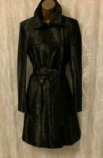Karen Millen Pony Print Fur High Collar Wrap Belt Classic Long Coat UK 6 to 14